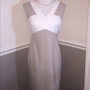 Calvin Klein dress size 6 tan white career church